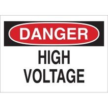 Brady® 84875 Danger Safety Sign, 5 in W x 3-1/2 in H, DANGER HIGH VOLTAGE, Red/Black on White, B-302 Polyester