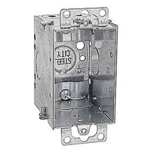 Steel City® CWN-25 Gangable Switch Box, Steel, 14 cu-in, 1 Gang, 4 Knockouts