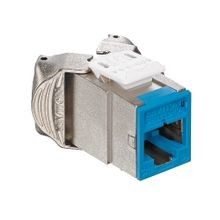 Leviton® 6ASJK-RL6 Cat 6a Shielded Connector Jack, Surface Mount, 1 Ports, Die Cast Zinc, Blue
