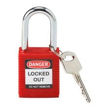 Brady® 99552 Compact Lockout Padlock, Keyed Different Key, Red, Plastic Body, 1/4 in Dia x 1-1/2 in H Shackle