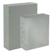 Hoffman ASE12X12X4 Pull Box With Knockout, 12 in L x 12 in W x 4 in D, NEMA 1/IP30, Steel