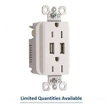 Pass & Seymour® P-STM826USBW USB Charging Duplex Outlet, 15 A, 120 V, White