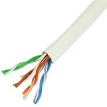 GenSPEED, CAT5e Cable, 24 AWG, Solid, Copper, 4 Pairs, White, PVC, UTP, Non-Plenum