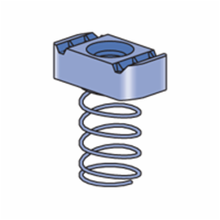 Unistrut® A1008-EG Channel Nut With Spring, For Use With A1000 Channel, 3/8-16 Thread, Mild Steel