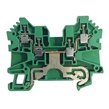 Allen-Bradley, 1492-J IEC Terminal Block, One-Circuit Feed-Through Ground Block, 4 mm (# 22 AWG - # 10 AWG) or 2.5 mm (# 22 AWG - # 12 AWG), Standard Feedthrough, Green / Yellow Stripe (Standard),