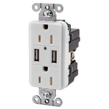 Hubbell, USB Charger Receptacle, 125 Volts, Duplex, 15 Ampere, 2 Poles, 3 Wires, 5-15R, White, RTP