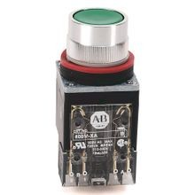Allen-Bradley, 800MR-A2D1, 800MR Momentary Contact Push Button Units, Non-Illuminated, Flush Head, Black, 1 N.O., Stab Terminals