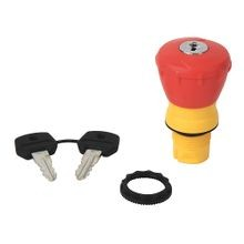 Allen-Bradley, 800FP-MK44, 800F Non-Illuminated Mushroom Operators, Key Release, 40mm, Round Plastic (Type 4/4X/13, IP66), Red