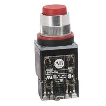 Allen-Bradley, 800MR-B6A, 800MR Momentary Contact Push Button Units, Non-Illuminated, Extended Head, Red, 1 N.O - 1 N.C., Stab Terminals