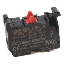 Allen-Bradley, 800F-X01, 22.5mm PB No Latch, Screw Contact Block, 1 N.C.