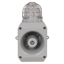 Allen-Bradley, 855HM-CGMA10DL4, 855HM Metal Horn with Beacon, Gray Housing Color, M20x1.5mm Conduit Entry, 120V AC 50/60Hz, 119db Output, LED, Red