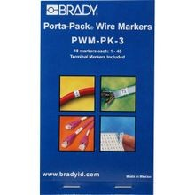 Brady® Porta-Pack® PWM-PK-3 Pre-Printed Wire Marker Book, 1-1/2 in L x 0.2 in W, 1 - 45 Legend, Vinyl Cloth
