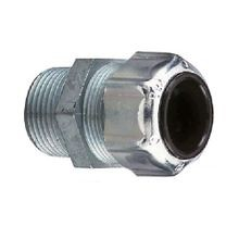 Thomas & Betts 2521 Strain Relief Straight Cord Connector, 1/2 in Trade, 1/4 - 3/8 in Cable Openings, Die Cast Zinc