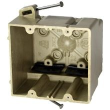 Allied Moulded fiberglassBOX™ 2302-NK Electrical Box, Polyester BMC, 37 cu-in, 2 Gangs, 4 Outlets, 8 Knockouts