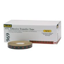 Scotch® 969 High Tack Adhesive Transfer Tape, 3/4 in W x 18 yd Roll L, 5 mil THK, Clear
