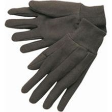 Batoray, Jersey Glove, Knit Wrist, Cotton, L, Full, Uncoated, Brown, 12/Pack, Unlined