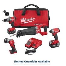 Milwaukee® M18 FUEL™ 4-Tool Cordless Combination Kit, 14 Pieces, 18 Volt, Red/Black