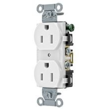 Hubbell, Straight Blade Receptacle, Duplex, 2 Pole, 3 Wire, 20 Ampere, 125 Volts, White