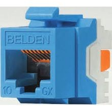 Belden, Jack, Cat6, 1 Port, Female, Straight, Plastic, RJ11, RJ45, 24 to 22 AWG, Cable Mount, Blue