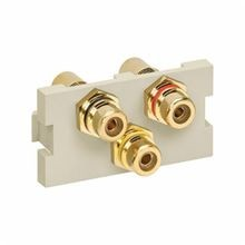QuickPort® 41292-3RI MOS Connector Module, RCA Connector, 3 Ports, Feed-Through Termination, Snap-In Mount, Ivory