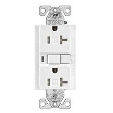 EATON TRAFCI20W Tamper-Resistant AFCI Receptacle, 125 VAC, 20 A, 2 Poles, 3 Wires, White