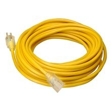 Extension Cord, 12 ga/3 Conductor, 25 ft, NEMA 5-15P Plug, 125 Volts, Yellow, 15 Ampere
