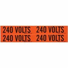 Brady® 44210 Voltage Marker Label, 4-1/8 in L x 4-1/8 in W, Black Legend, B-498 Vinyl Cloth