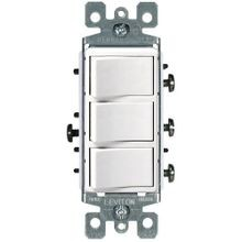 Decora® 1755-W Combination Switch, 120 VAC 15 A, 1 Poles