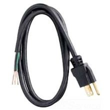 Power Tool Replacement Cord, 16 ga/3 Conductor, 6 ft, NEMA 5-15P Plug, 125 Volts, Black