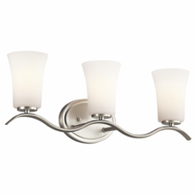 Kichler® 45376NI Transitional Bath Light, 3 Incandescent Lamp, 120 VAC, Brushed Nickel Housing