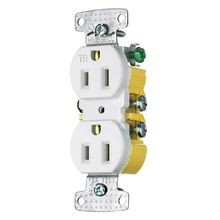 Hubbell, Duplex Receptacle, Residential, Tamper Resistant, 15 Ampere, 125 Volts, NEMA 5-15R, White