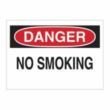 Brady® 25077 No Smoking Sign, 10 in H x 14 in W, Black/Red on White, Surface Mount, B-401 Plastic