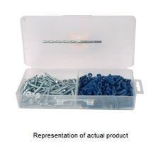Stewart Fastener, Anchor Kit, Plastic, #10 x 1 Inch, Box, Pan Head Screws;Plastic Anchors;Drill Bit