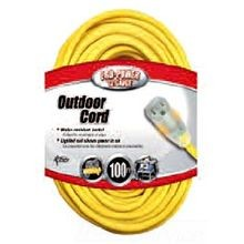 Extension Cord, 12 ga/3 Conductor, 100 ft, NEMA 5-15P Plug, 125 Volts, Yellow
