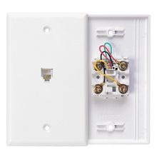Leviton® 40249-W Standard Telephone Wall Jack, 1 Gangs, 4.53 in L x 2-3/4 in W, Plastic, Flush Mount
