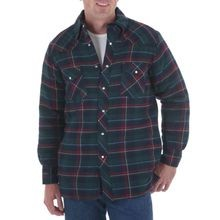 Men's Western Long Sleeve Flannel Quilted Plaid Shirt