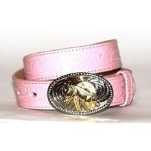 Girls' Pink Floral Tooled Belt W/ Horse Shoe Buckle