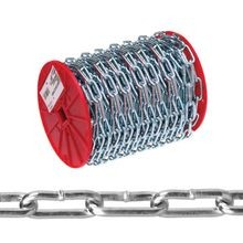 072 6827 Straight Proof Tested Link Coil Chain, No 2, 125 Ft L, 310 Lb, Low Carbon Steel