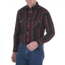 Men's Western Long Sleeve Flannel Striped Shirt