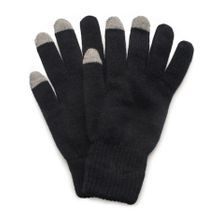 Men's 2 Layer Knit Glove with Texting Fingers - Black
