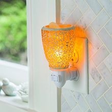 Pluggable Fragrance Warmer, Crackled Amber Glass