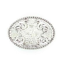 Ladies' Horse Head Floral Design with Crystals Belt Buckle