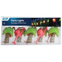 Flamingos And Palm Trees Party Light, 120 V, 10 W, 8 Ft Strand