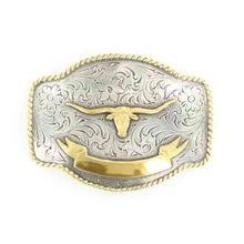Men's Longhorn With Ribbon Belt Buckle