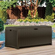 Wicker Resin Deck Box, 73 gal, Mocha