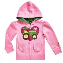 Little Girls' Tractor On Heart Fleece Hoodie