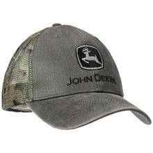Men's Waxed Cotton Camo Mesh Charcoal Cap
