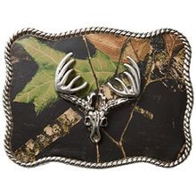 Men's Mossy Oak Deer Skull Buckle Silver One Size