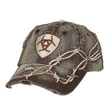 Men's Distressed Barbed Wire Embroidered Logo Cap