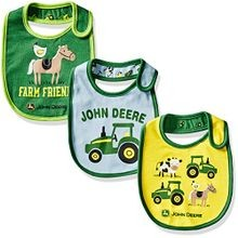 Infant's Farm Friends 3 Piece Bib Set Blue/Yellow/Green